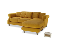 Large right hand Sloucher Chaise Sofa in Saffron Yellow Clever Cord