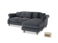 Large right hand Sloucher Chaise Sofa in Scandi grey Clever Cord