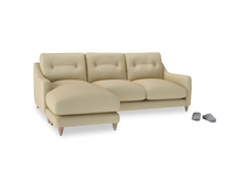 Large left hand Slim Jim Chaise Sofa in Parchment Clever Linen