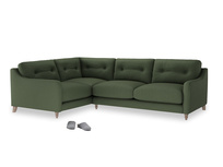 Large Left Hand Slim Jim Corner Sofa in Forest Green Clever Linen