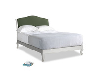 Double Coco Bed in Scuffed Grey in Forest Green Clever Linen