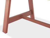 Trestle Kitchen Table in Earthy Red Base Detail