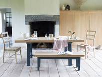 Trestle blue oak kitchen table
