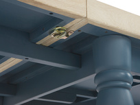 Scullery kitchen table in blue lock detail
