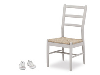 Hobnob grey painted wood kitchen chair side and prop