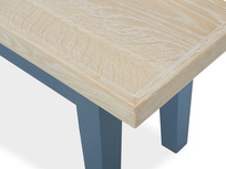 Plonk in heritage blue dining bench corner detail