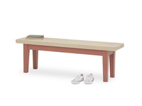 Plonk in earthy red dining bench front detail with prop