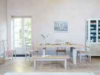 Trestle painted grey kitchen table