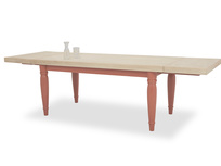 Scullery kitchen table in red extended with prop