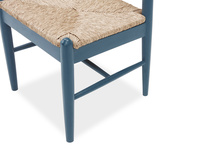 Hobnob in heritage blue rustic dining chair side detail