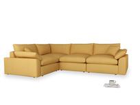 Large left hand Cuddlemuffin Modular Corner Sofa in Dorset Yellow Clever Linen