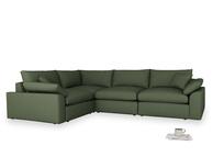 Large left hand Cuddlemuffin Modular Corner Sofa in Forest Green Clever Linen