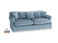 Large Crumpet Sofa Bed in Chalky blue vintage velvet