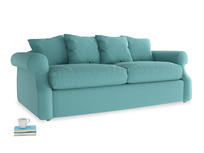 Medium Sloucher Sofa Bed in Peacock brushed cotton