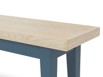 Plonk in heritage blue colourful bench leg detail