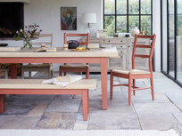 Pantry rust painted oak top dining table with Hobnob chairs