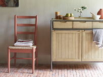 Servery oak sideboard with Hobnob red woven seat dining chair