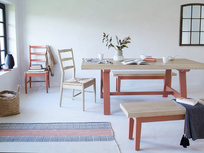 Trestle red oak top dining table with hobnob chairs and plonk bench
