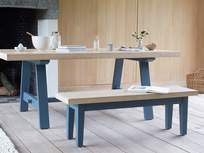 Trestle kitchen table with Plonk blue kitchen bench seating