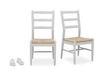 Pair of Hobnob Kitchen Chairs in Pale Grey