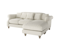 Large right hand Sloucher Chaise Sofa in Oat brushed cotton