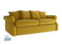 Medium Sloucher Sofa Bed in Burnt yellow vintage velvet