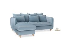 Large left hand Podge Chaise Sofa in Chalky blue vintage velvet