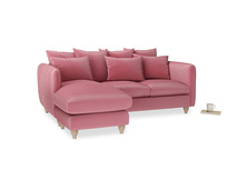 Large left hand Podge Chaise Sofa in Blushed pink vintage velvet