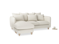 Large left hand Podge Chaise Sofa in Chalky White Clever Softie