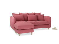 Large left hand Podge Chaise Sofa in Raspberry brushed cotton