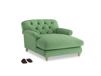 Truffle Love Seat Chaise in Clean green Brushed Cotton