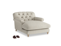 Truffle Love Seat Chaise in Thatch house fabric