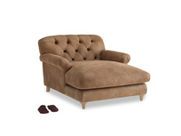 Truffle Love Seat Chaise in Walnut beaten leather
