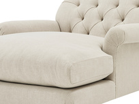 Truffle Chesterfield Love Seat Chaise Sofa Snuggler arm detail