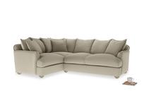 Large left hand Smooch Corner Sofa Bed in Jute vintage linen