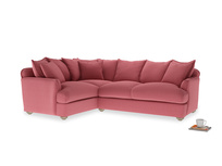 Large left hand Smooch Corner Sofa Bed in Raspberry brushed cotton
