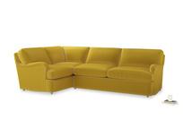 Large left hand Jonesy Corner Sofa Bed in Bumblebee clever velvet