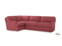 Large left hand Jonesy Corner Sofa Bed in Raspberry brushed cotton