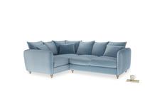 Large Left Hand Podge Corner Sofa in Chalky blue vintage velvet