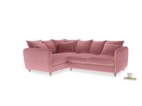Large Left Hand Podge Corner Sofa in Dusty Rose clever velvet