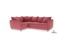 Large Left Hand Podge Corner Sofa in Raspberry brushed cotton