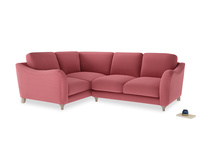 Large Left Hand Bumpster Corner Sofa in Raspberry brushed cotton
