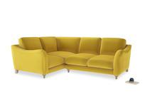 Large Left Hand Bumpster Corner Sofa in Bumblebee clever velvet