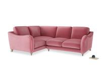 Large Left Hand Bumpster Corner Sofa in Blushed pink vintage velvet