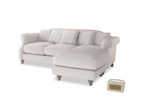 Large right hand Sloucher Chaise Sofa in Winter White Clever Velvet