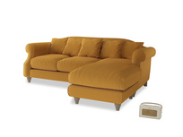 Large right hand Sloucher Chaise Sofa in Burnished Yellow Clever Velvet