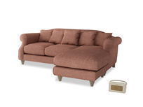 Large right hand Sloucher Chaise Sofa in Dried Rose Clever Laundered Linen