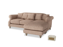 Large right hand Sloucher Chaise Sofa in Old Plaster Clever Laundered Linen