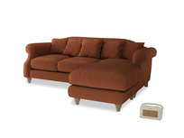 Large right hand Sloucher Chaise Sofa in Praline Plush Velvet
