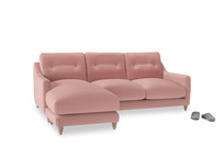 Large left hand Slim Jim Chaise Sofa in Vintage Pink Clever Velvet
